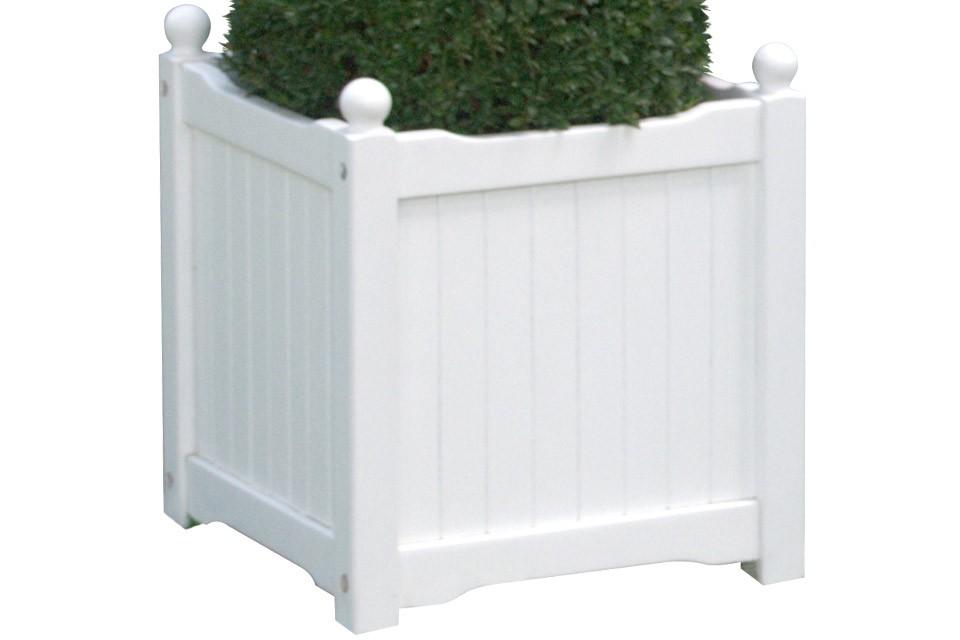 White Wood Planter Box