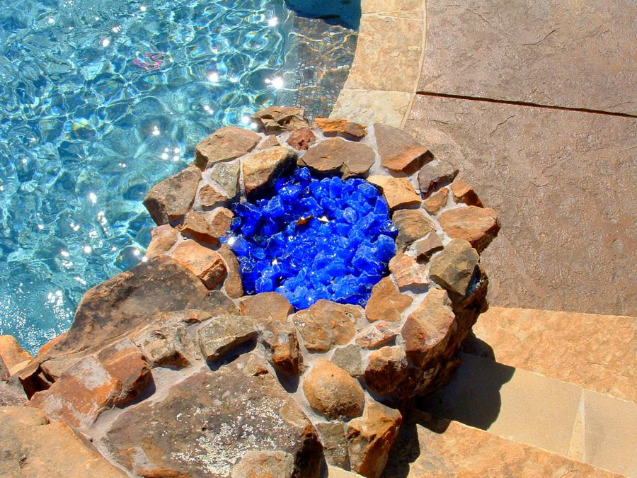 Natural Pool Fire Pit Glass Rocks
