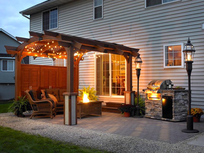 Backyard Pergola With Lighting Ideas