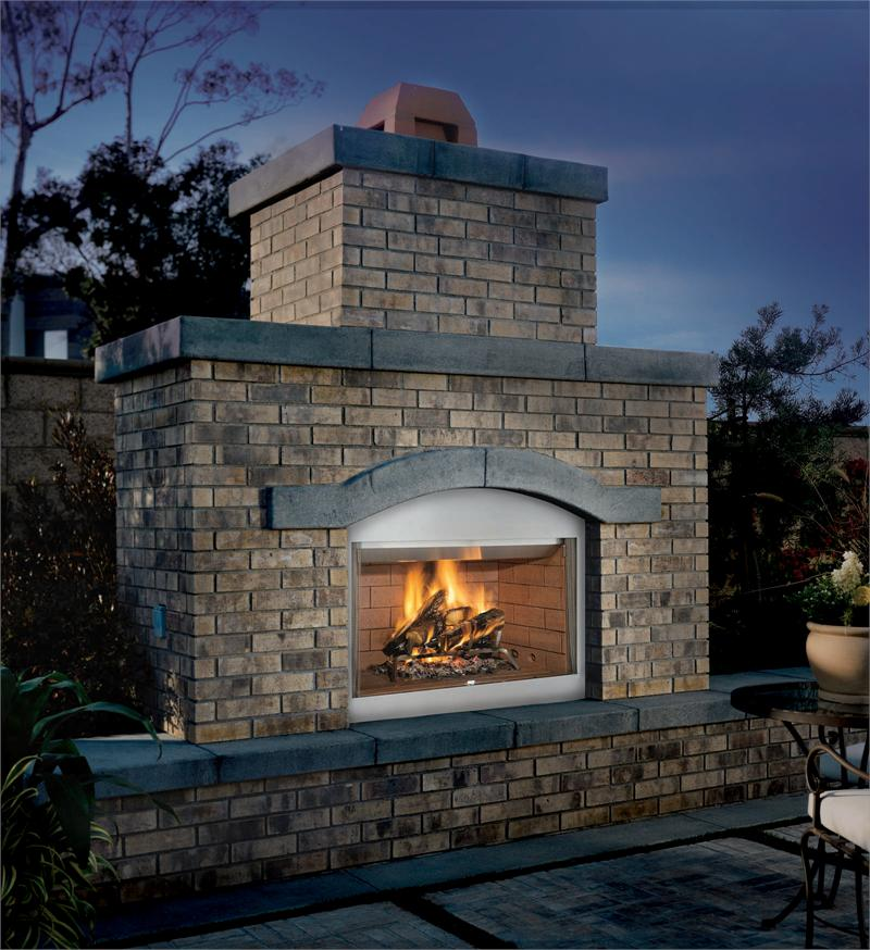 Wood Burning Outdoor Fireplace Brick