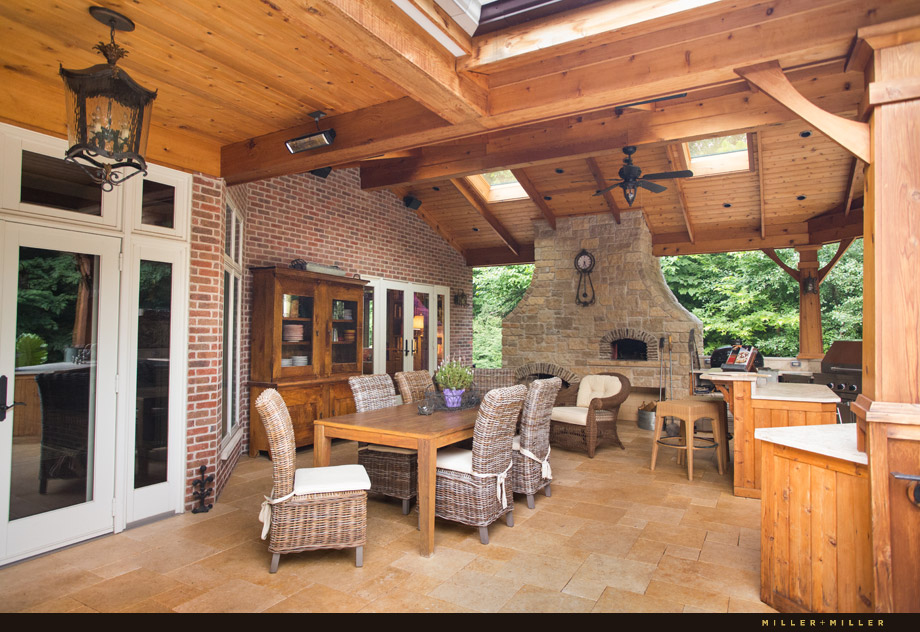 Wood Burning Outdoor Fireplace Country