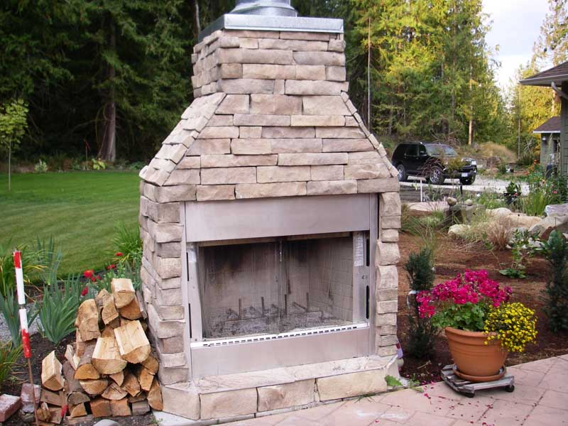 Wood Burning Outdoor Fireplace Terrace