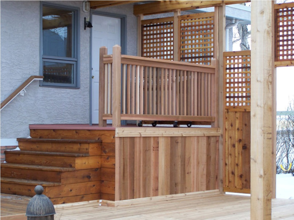 Cedar Deck Railing Stained White