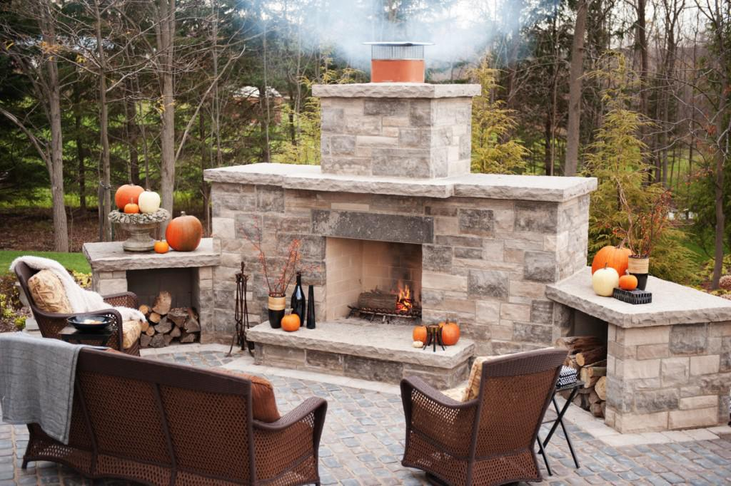Awesome Cinder Block Outdoor Fireplace