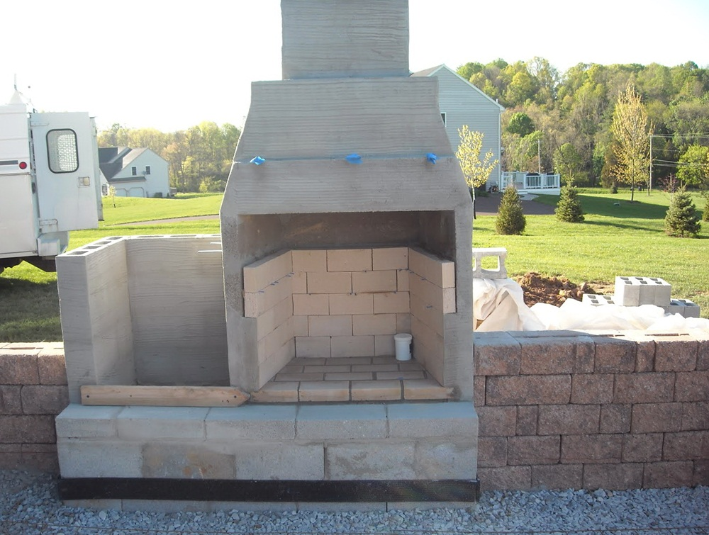 Cinder Block Outdoor Fireplace