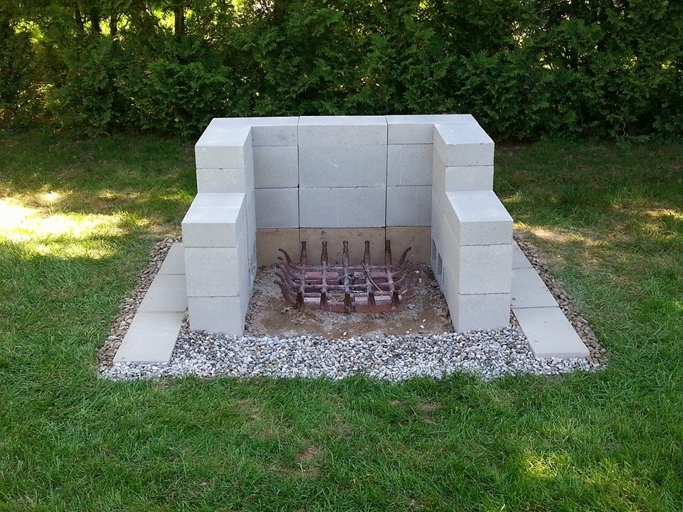 Design Cinder Block Outdoor Fireplace