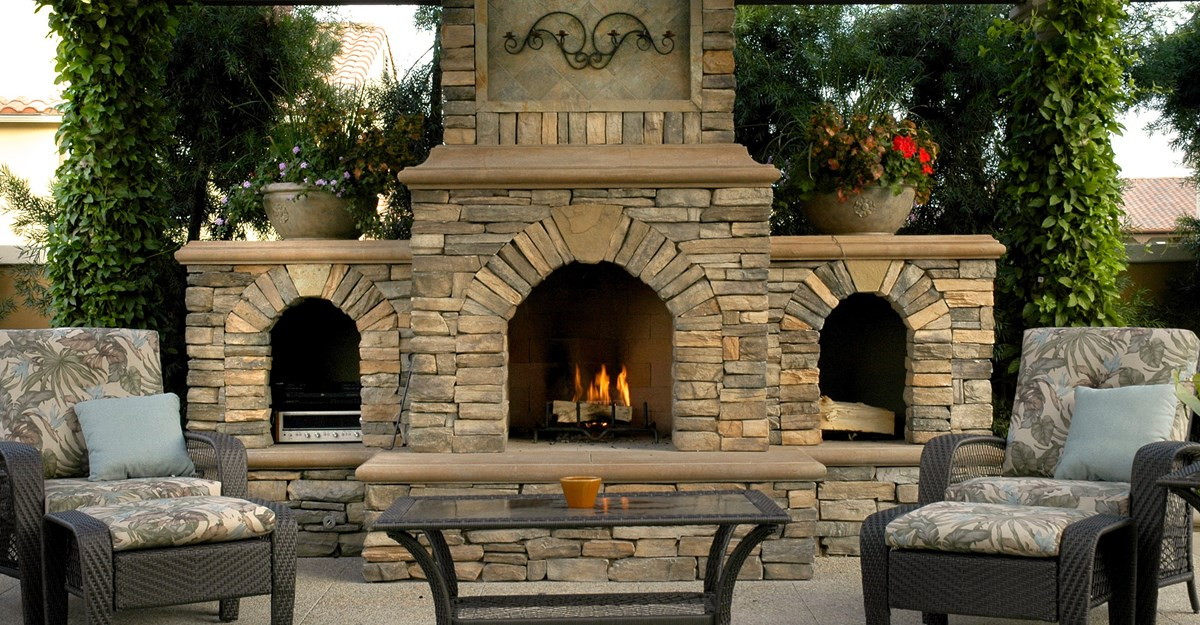 Elegant Cinder Block Outdoor Fireplace