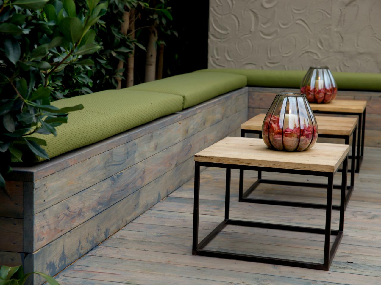 Green outdoor bench seat cushions