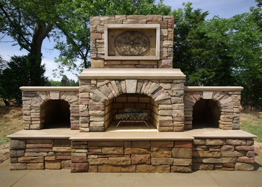 Nice Cinder Block Outdoor Fireplace