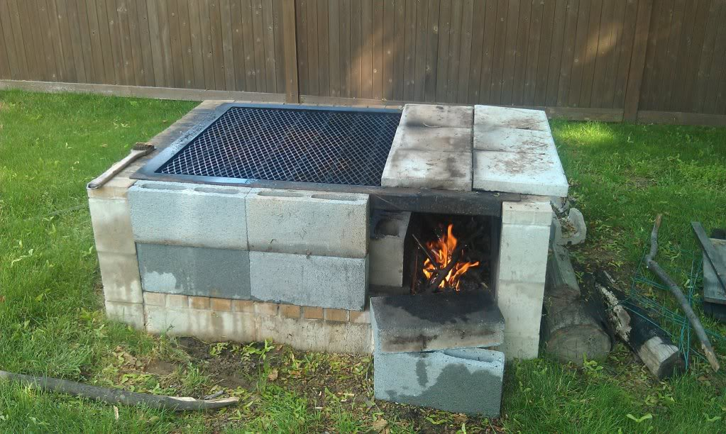 Simple Cinder Block Outdoor Fireplace