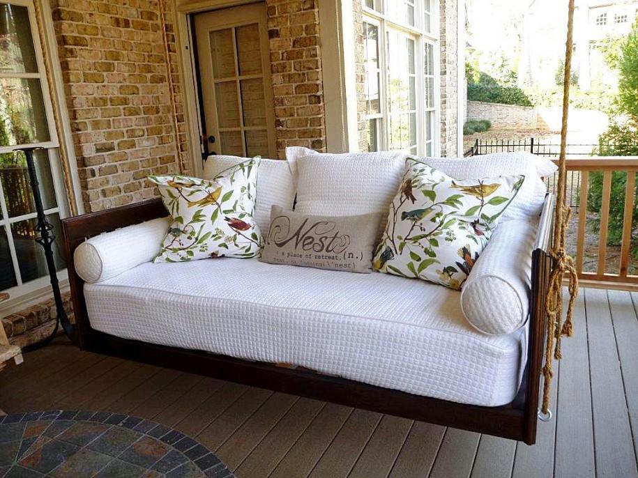 Back White Porch Swing