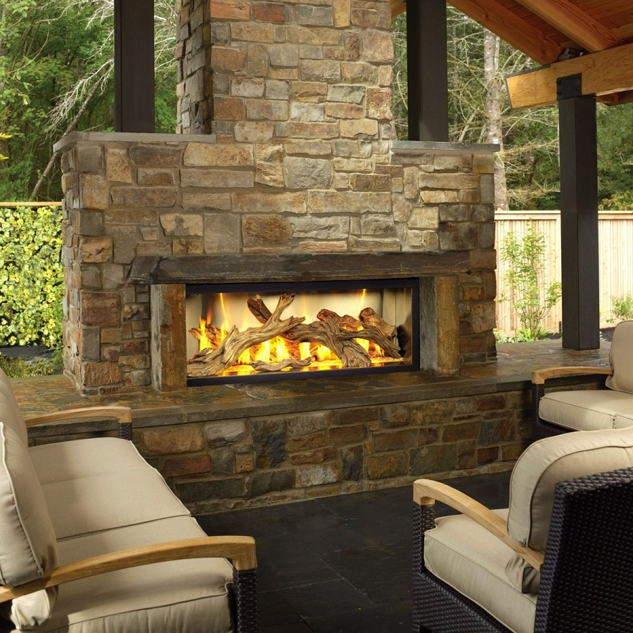 Contemporary Outdoor Natural Gas Fireplace