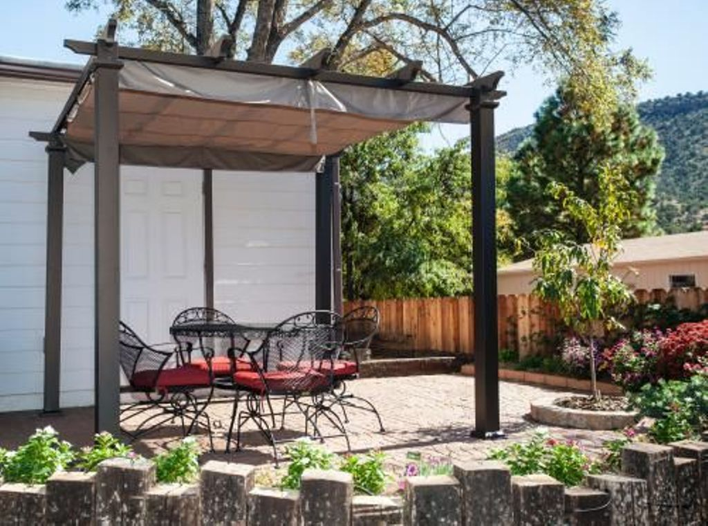Hampton Bay Pergola With Canopy — Rickyhil Outdoor Ideas
