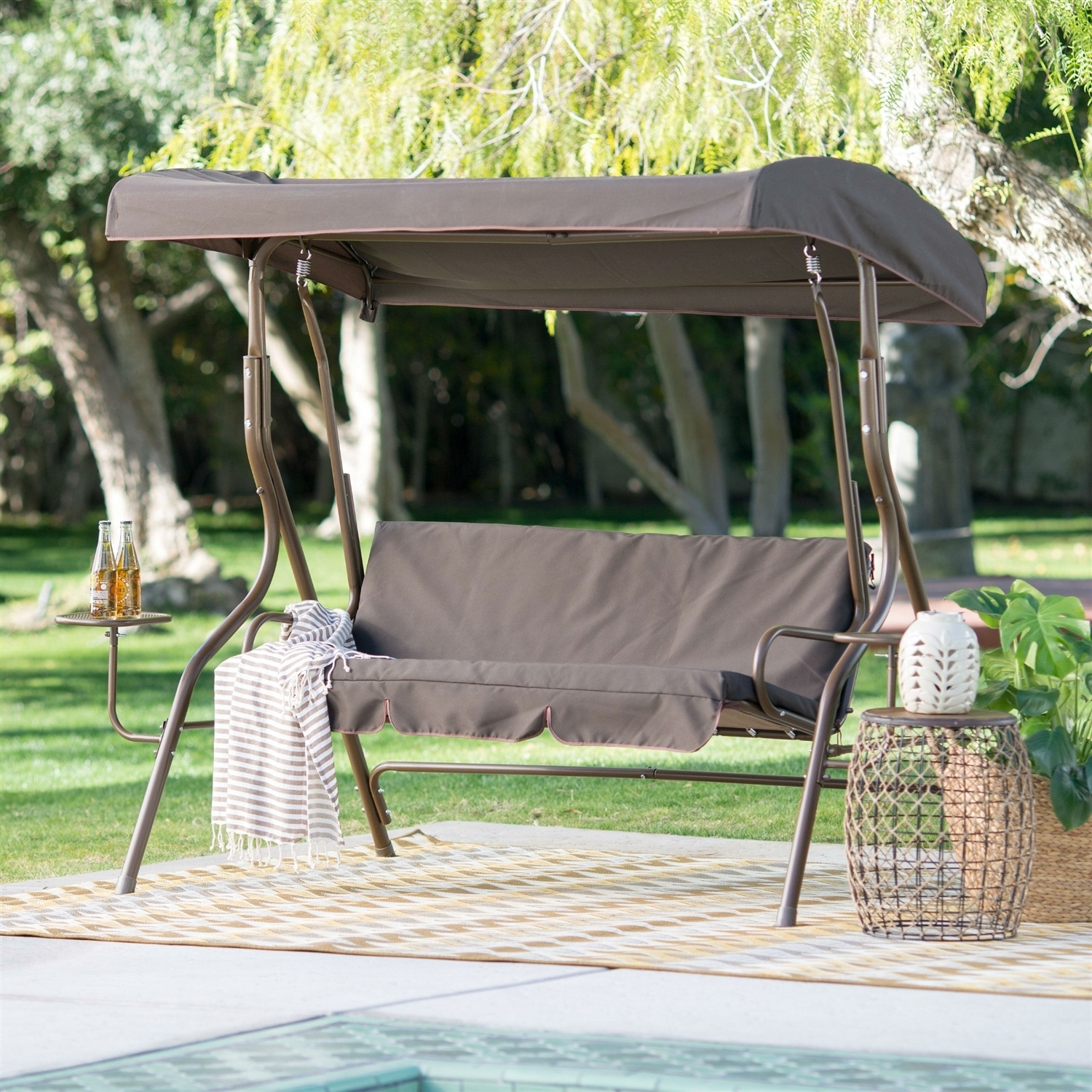 Outdoor Patio 2 Person Porch Swing With Adjustable Tilt Canopy And